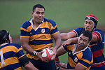 Jeff Maka is brought to ground by Cole Mooney & Alepini Olosoni after claiming a lineout throw. CMRFU Counties Power 2008 Club rugby McNamara Cup Premier final between Ardmore Marist & Patumahoe played at Growers Stadium, Pukekohe on July 26th.  Ardmore Marist won 9 - 8.