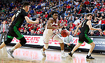 SIOUX FALLS, SD - MARCH 8: Stanley Umude #0 of the South Dakota Coyotes drives to the basket against the North Dakota Fighting Hawks at the 2020 Summit League Basketball Championship in Sioux Falls, SD. (Photo by Dave Eggen/Inertia)
