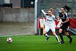 16.03.2019, Stadion Essen, Essen, GER, AFBL, SGS Essen vs TSG 1899 Hoffenheim, DFL REGULATIONS PROHIBIT ANY USE OF PHOTOGRAPHS AS IMAGE SEQUENCES AND/OR QUASI-VIDEO<br /> <br /> im Bild | picture shows:<br /> Jacqueline Klasen (SGS Essen #16) im Duell mit Geraldine Reuteler (FFC Frankfurt #8), <br /> <br /> Foto &copy; nordphoto / Rauch