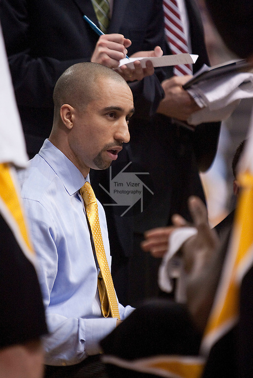 March 31,  2010                Virginia Commonwealth head coach Shaka Smart speaks to his team in a huddle during a second-half timeout.   The Virginia Commonwealth University Rams won the best-of-three games Championship Series of the College Basketball Invitational Tournament by defeating Saint Louis University 71-65 in game two on Wednesday March 31, 2010 at SLU's Chaifetz Arena, near downtown St. Louis.