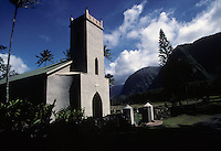 St. Philomena Church on the Kalaupapa peninsula in 1995. Father Damien a missionary who ministered to shunned leprosy patients in the Hawaiian Islands is buried next to the church.