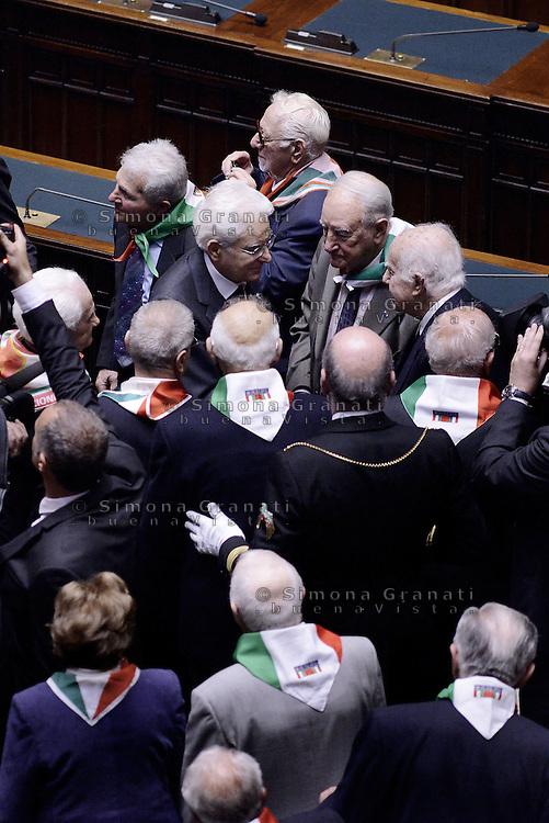 Roma, 16 Aprile 2015.<br /> Il Presidente della Repubblica Sergio Mattarella saluta i Partigiani <br /> Celebrazione alla Camera dei deputati del 70&deg; anniversario della liberazione dal nazifascismo.