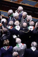 Roma, 16 Aprile 2015.<br /> Il Presidente della Repubblica Sergio Mattarella saluta i Partigiani <br /> Celebrazione alla Camera dei deputati del 70° anniversario della liberazione dal nazifascismo.