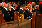 Boston, MA - August 29, 2009 -- Former Presidend Bill Clinton (L-R), Secretary of State Hillary Clinton, former president George W. Bush, President Barack Obama, Vice President Joseph Biden, former first lady Rosalynn Carter and former President Jimmy Carter wait for the services to begin at. during funeral services for U.S. Senator Edward Kennedy at the Basilica of Our Lady of  Perpetual Help in Boston, Massachusetts August 29, 2009.  Senator Kennedy died late Tuesday after a battle with cancer. .Credit: Brian Snyder- Pool via CNP