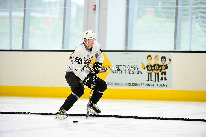 July 7, 2017: Boston Bruins forward Jack Becker (54) works on a hockey drill during the Boston Bruins development camp held at Warrior Ice Arena in Brighton, Massachusetts. Eric Canha/CSM