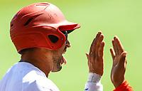 Yordan Manduley of the Alazanes of Granma Cuba score in the first innig, during the Caribbean Series baseball game against Caribes de Anzoátegui of Venezuela in Guadalajara, Mexico, on Friday, February 2, 2018. (AP Photo / Luis Gutierrez)
