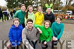 Taking part in the Gaelcolaiste Chiarrai 5k fun run in the Tralee town park on Friday. L to r: Brid Fitzgerald, Bernard Casey, Aedín Ní Dhuinnín, Kiana Breatchnach, Sinead Casey, Lucey Ní Murchú, Doireann Ní Néill and Iníon Leidhin