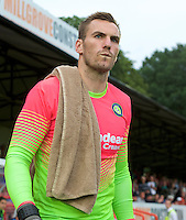 Goalkeeper Scott Brown of Wycombe Wanderers comes on for the start of  the Friendly match between Aldershot Town and Wycombe Wanderers at the EBB Stadium, Aldershot, England on 26 July 2016. Photo by Alan  Stanford.