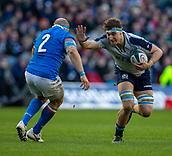 2nd February 2019, Murrayfield Stadium, Edinburgh, Scotland; Guinness Six Nations Rugby Championship, Scotland versus Italy; Jamie Ritchie of Scotland hands off to Leonardo Ghiraldini of Italy