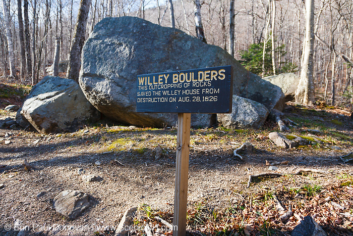"The ""Willey Boulders"" in Crawford Notch State Park in Hart's Location, New Hampshire. These boulders saved the Willey House from destruction on August 28, 1826 when a massive landslide came down Mount Willey. These boulders located just above the house caused the landslide to split into two debris flows around the house. The house was said to be untouched, but all seven members of the family and two hired men perished in the slide while trying to escape to a safe area."