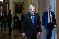 United States Senate Majority Leader Mitch McConnell (Republican of Kentucky) arrives at the United States Capitol in Washington D.C., U.S. on Tuesday, March 24, 2020.  The Senate is working to finalize a deal on the Coronavirus Stimulus Package, after it was blocked by Senate Democrats two days in a row.  Credit: Stefani Reynolds / CNP/AdMedia