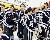 ?, Sarah Cuthbert (UNH - 14), ?, Courtney Birchard (UNH - 24), ?, Lindsey Minton (UNH - 36), Kayley Herman (UNH - 31) - The Boston College Eagles and the visiting University of New Hampshire Wildcats played to a scoreless tie in BC's senior game on Saturday, February 19, 2011, at Conte Forum in Chestnut Hill, Massachusetts.