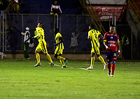 PASTO - COLOMBIA, 07-10-2018: Michael Rangel (Izq.), jugador de Atlético Bucaramanga, celebra el gol anotado a Deportivo Pasto, durante partido entre Deportivo Pasto y Atlético Bucaramanga, de la fecha 13 por la Liga Águila II 2018, jugado en el estadio Departamental Libertad de la ciudad de Pasto.  / Michael Rangel (L), player of Atletico Bucaramanga, celebrate a goal scored to Deportivo Pasto, during a match between Deportivo Pasto and Atletico Bucaramanga, of the 13th date date for the Liga Aguila II 2018 at the Departamental Libertad stadium in Pasto city. Photo: VizzorImage. / Leonardo Castro / Cont.