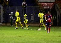 PASTO - COLOMBIA, 07-10-2018: Michael Rangel (Izq.), jugador de Atlético Bucaramanga, celebra el gol anotado a Deportivo Pasto, durante partido entre Deportivo Pasto y Atlético Bucaramanga, de la fecha 13 por la Liga Águila II 2018, jugado en el estadio Departamental Libertad de la ciudad de Pasto.  / Michael Rangel (L), player of Atletico Bucaramanga, celebrate a goal scored to Deportivo Pasto, during a match between Deportivo Pasto and Atletico Bucaramanga, of the 13th date date for the Liga Aguila II 2018 at the Departamental Libertad stadium in Pasto city. Photo: VizzorImage. / Leonardo Castro / Cont.