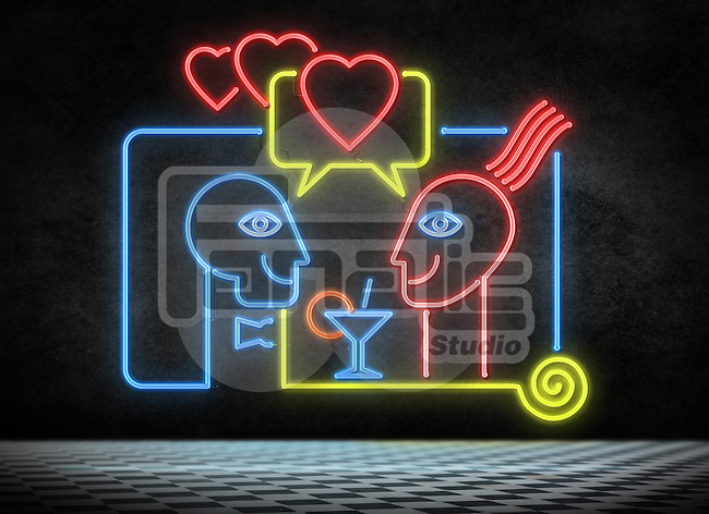 Illustrative image of couple enjoying in night club