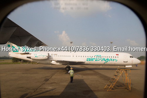 Air Bagan domestic aircraft, Yangon International airport Myanmar ( Rangoon Burma ) 2006