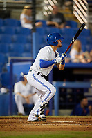 Dunedin Blue Jays second baseman Cavan Biggio (4) follows through on a swing during a game against the St. Lucie Mets on April 19, 2017 at Florida Auto Exchange Stadium in Dunedin, Florida.  Dunedin defeated St. Lucie 9-1.  (Mike Janes/Four Seam Images)