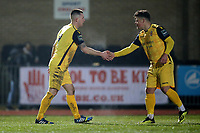 Charlie Stimson of Hornchurch (L) scores the first goal for his team and celebrates during Chelmsford City vs AFC Hornchurch, BBC Essex Senior Cup Football at Melbourne Park on 4th February 2019