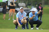 Paul Casey (Europe) on the 17th green during the Saturday Foursomes of the Eurasia Cup at Glenmarie Golf and Country Club on the 13th January 2018.<br /> Picture:  Thos Caffrey / www.golffile.ie