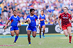 Laaloi Leilua of Samoa (L) in action during the HSBC Hong Kong Sevens 2018 Shield Final match between Samoa and Wales on April 8, 2018 in Hong Kong, Hong Kong. Photo by Marcio Rodrigo Machado / Power Sport Images