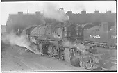 D&amp;RGW 3-8-8-3 #3501 near the Helper roundhouse.  The tender of 2-8-0 #1189 is showing.<br /> D&amp;RGW  Helper, UT  Taken by Perry, Otto C. - 7/4/1939