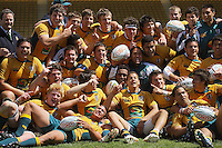 The Australian team celebrates victory during the International rugby match between New Zealand Secondary Schools and Suncorp Australia Secondary Schools at Yarrows Stadium, New Plymouth, New Zealand on Friday, 10 October 2008. Photo: Dave Lintott / lintottphoto.co.nz