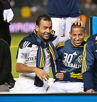 CARSON, CA - November 6, 2011: LA Galaxy player Juninho and Paolo Cardozo celebrating after the match between LA Galaxy and Real Salt Lake at the Home Depot Center in Carson, California. Final score LA Galaxy 3, Real Salt Lake 1.