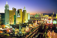 dusk elevated view casinos on The Strip Las Vegas Nevada