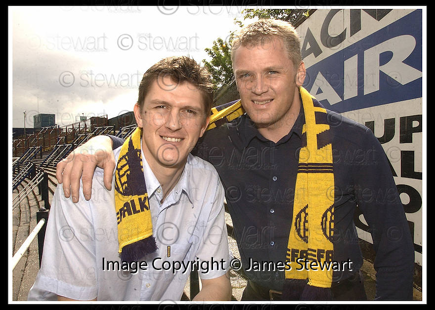 29/05/2002                   Copyright Pic : James Stewart.File Name : stewart-falkirk fc 02.FALKIRK'S  NEW SIGNINGS KEVIN JAMES AND ALAN FERGUSON......Payments to :-.James Stewart Photo Agency, 19 Carronlea Drive, Falkirk. FK2 8DN      Vat Reg No. 607 6932 25.Office     : +44 (0)1324 570906     .Mobile  : +44 (0)7721 416997.Fax         :  +44 (0)1324 570906.E-mail  :  jim@jspa.co.uk.If you require further information then contact Jim Stewart on any of the numbers above.........