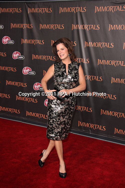 """LOS ANGELES - NOV 7:  Marcia Gay Harden arrives at the """"Immortals 3D"""" Premiere at Nokia Theater at LA Live on November 7, 2011 in West Hollywood, CA"""