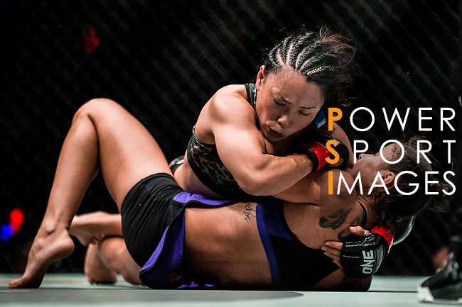 Women's atomweight Istela Nunes of Brazil vs Mei Yamaguchi of Japan in action during the One Championship - Heroes of the World on 13 August 2016 at The Venetian Macao Cotai Arena in Macau, China. Photo by Marcio Machado / Power Sport Images