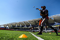 Players of Caribes de Anzoátegui of Venezuela are warming up in the field of play Estadio Charros de Jalisco prior to the start of the first baseball game of the Caribbean Series 2018 against their rival Alazanes de Gamma of Cuba in Guadalajara, Mexico, Friday 2 Feb 2018. ( / Luis Gutierrez)