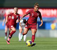 FRISCO, TX - MARCH 11: Nikita Parris #7 of England brings the ball up the field during a game between England and Spain at Toyota Stadium on March 11, 2020 in Frisco, Texas.