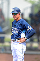 GCL Rays manager Jim Morrison (2) during a game against the GCL Orioles on July 20, 2013 at Charlotte Sports Complex in Port Charlotte, Florida.  GCL Orioles defeated the GCL Rays 4-1.  (Mike Janes/Four Seam Images)