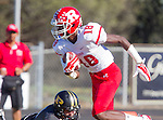 Palos Verdes, CA 10/24/14 - Warren Jackson (Redondo Union #18)in action during the Redondo Union - Palos Verdes Peninsula CIF Varsity football game at Peninsula High School.