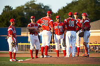 Batavia Muckdogs manager Dann Bilardello #11 talks with pitcher Christopher Thomas #38 (second from right), catcher Jonathan Keener #7 (far right) as (L-R) Ildemaro Vargas #40, Danny Stienstra #18, Patrick Wisdom #35, David Washington #28 listen in during a NY-Penn League game against the Auburn Doubledays at Dwyer Stadium on September 2, 2012 in Batavia, New York.  Batavia defeated Auburn 8-7.  (Mike Janes/Four Seam Images)