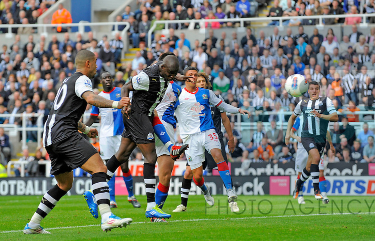 Demba Ba of Newcastle United scores his side's second goal during the Premier League football match between Newcastle United and Blackburn Rovers on 24 September, 2011, at St. James' Park, Newcastle upon Tyne, England. Photo Credit: SPORTIMAGE/RICHARD LEE