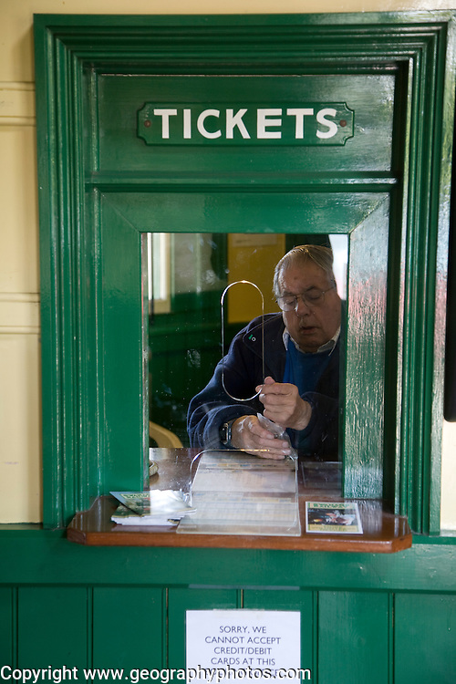Station ticket office, Corfe Castle, Dorset England. The Swanage Railway is situated on the Isle of Purbeck in the south east corner of the picturesque county of Dorset.