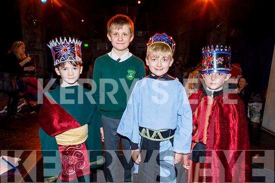 Thomas Ó Catháin, Dylan Ó Tuama, Ruairí Turbinski and John Ó Ciardha on stage at the Gaelscoil Lios Tuathail's Scéal Na Nollag Christmas show in St Johns Theatre on Tuesday.