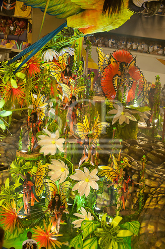 Imperatriz Leopolinense Samba School, Carnival, Rio de Janeiro, Brazil, 26th February 2017. Samba dancers dressed as butterflies on the Giant Caiman float, representing the threatened forest animals.