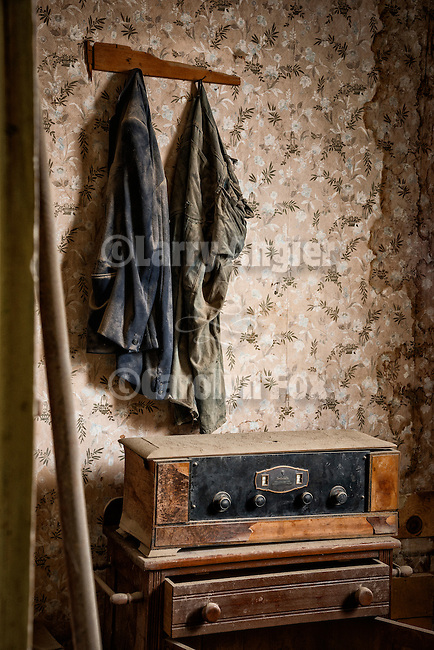 Two shirts and a radio Inside of the Miller house, the ghost town of Bodie, California, State Historic Park.