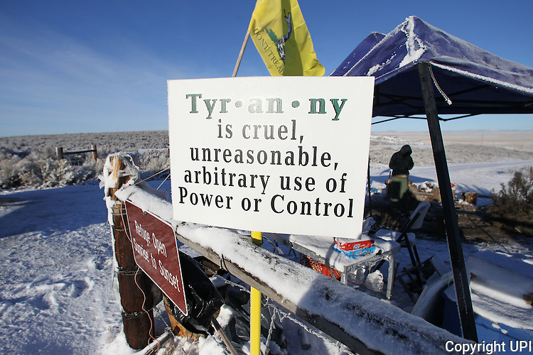 An activists pulls sentry duty at the Malheur National Wildlife Reserve on January 15, 2016 in Burns, Oregon.  Ammon Bundy and about 20 other protesters took over the refuge on Jan. 2 after a rally to support the imprisoned local ranchers Dwight Hammond Jr., and his son, Steven Hammond.      Photo by Jim Bryant/UPI