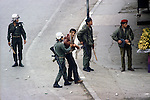 Nablus, West Bank Israel. Israeli soldiers roundup Palestinian demonstrators. 1980s Middle East.