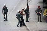 Nablus, West Bank Israel. Israeli soldiers roundup Palestinian demonstrators. 1980s Middle East.