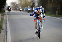 Kevin Van Melsen (BEL/Wanty-Groupe Gobert) leading the race solo and refuelling with less then 20km to go<br /> <br /> 71st Dwars door Vlaanderen (1.HC)