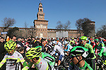 Sunshine greets the riders at sign on before the start of Milano-San Remo cycling race at Piazza Castello in Milan, Italy. 19th March 2016.<br /> Picture: ANSA/CLAUDIO PERI | Newsfile<br /> <br /> <br /> All photos usage must carry mandatory copyright credit (© Newsfile | Claudio Peri)