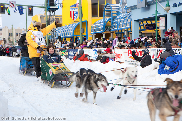 2010 Iditarod Ceremonial Start in Anchorage Alaska musher # 14 NEWTON MARSHALL with Iditarider JANET TREMER