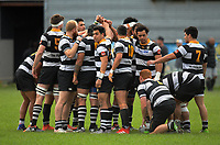 The Ories team huddles before the Swindale Shield Wellington premier club rugby match between Oriental-Rongotai and Old Boys-University at Polo Ground in Wellington, New Zealand on Saturday, 29 April 2017. Photo: Dave Lintott / lintottphoto.co.nz
