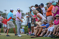 Xander Schauffele (USA) shakes hands with fans on his way to the first tee during round 4 of The Players Championship, TPC Sawgrass, at Ponte Vedra, Florida, USA. 5/13/2018.<br /> Picture: Golffile | Ken Murray<br /> <br /> <br /> All photo usage must carry mandatory copyright credit (&copy; Golffile | Ken Murray)