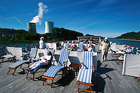 """Philippsburg nuclear power plant, seen from the """"River Cloud"""" on the Rhine."""